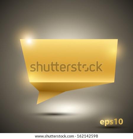 Golden speech bubble. Vector illustration. - stock vector