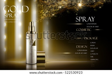 golden spray contained in bottle, with logo and golden powder elements, black background, 3d illustration