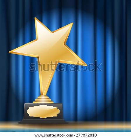 golden star award on blue curtain background - stock vector