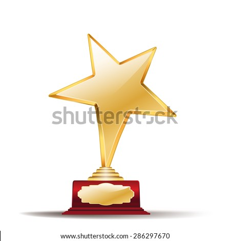 golden star award on white - stock vector