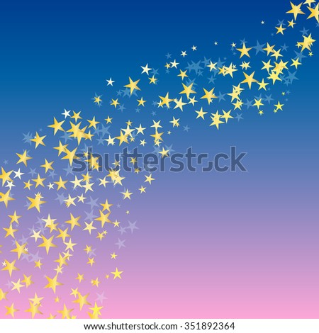 golden star flowing over night background. vector