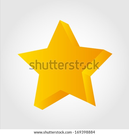Golden star icon, 3d - stock vector