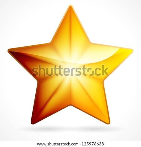 Golden star icon on white background, eps 10 - stock vector