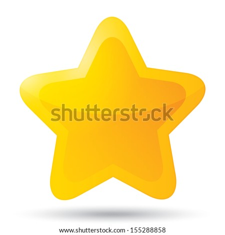 Golden star icon on white background. Five-pointed shiny star for rating. Rounded corners. Eps 10. - stock vector