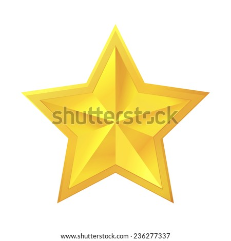 Golden star on white background. Vector illustration