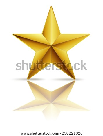 golden star on white with reflection - stock vector