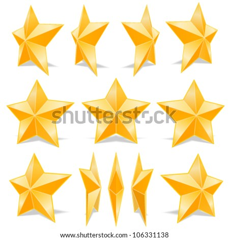 Golden star set. different angles. Vector illustration - stock vector