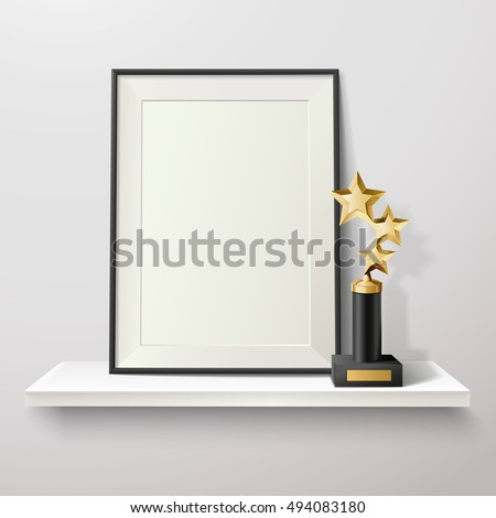 Golden star trophy and blank frame on white shelf on white background vector illustration