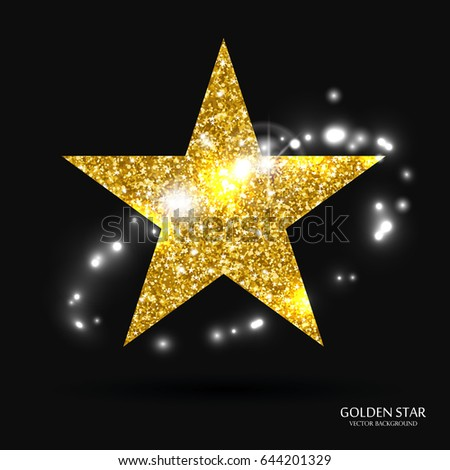 golden star vector banner gold glitter stock vector royalty free