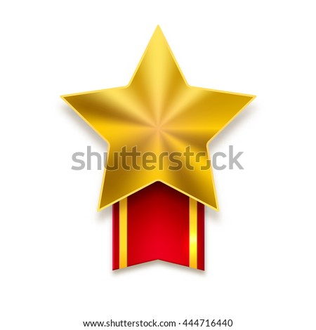 Golden star with red ribbon on white background. Yellow metal star with flare and red ribbon with yellow stripes - stock vector