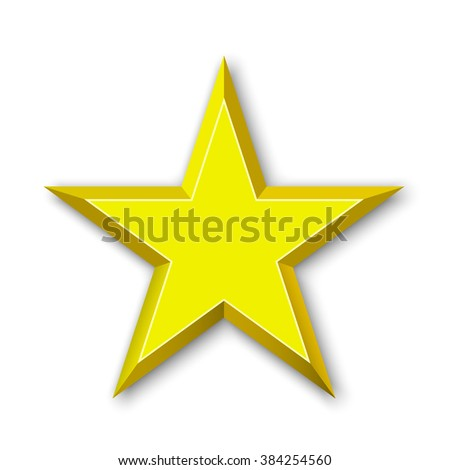 Golden Star. Yellow star. 3D. Vector illustration.