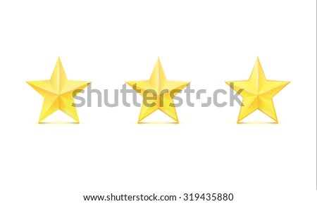 Golden stars on white background. Vector illustration. - stock vector