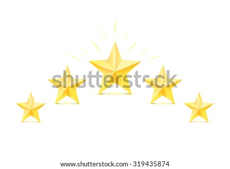 Golden stars on white background. Vector illustration. Five golden stars. - stock vector