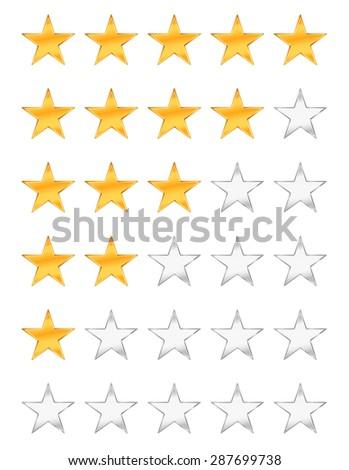 golden stars rating - stock vector