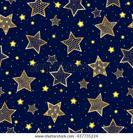 Golden stars seamless pattern on blue background
