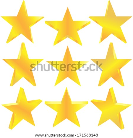 Golden stars set. Vector illustration EPS-10. - stock vector