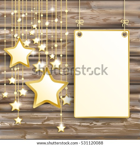 Golden stars with hanging board on the wooden background. Eps 10 vector file.