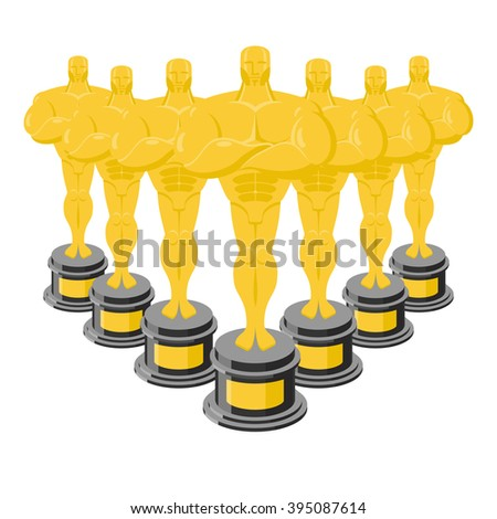 Golden statuette.  Golden statue. Collection of gold statuettes - stock vector