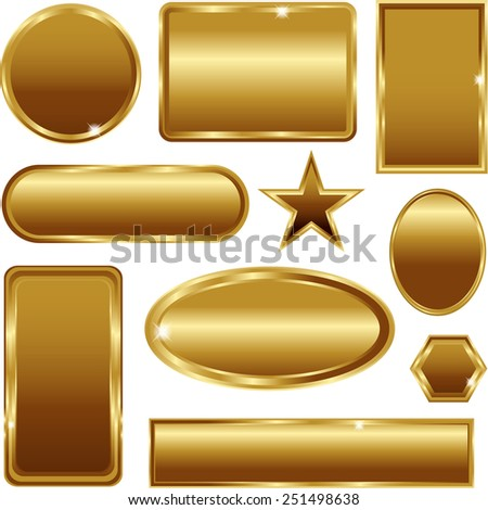 Golden stickers banners signs set isolated on white - stock vector