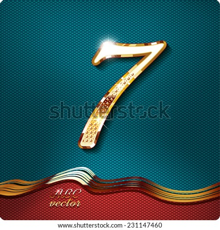 Golden stylish Inlaid figure is 7, with shadow and glare. vector digit seven. The remaining digits in my portfolio. - stock vector