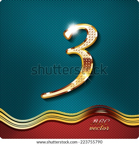 Golden stylish Inlaid figure is 3, with shadow and glare. vector digit 3. The remaining digits in my portfolio. - stock vector