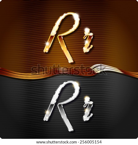 """Golden stylish italic letters and italic metal letters of the alphabet. Capital letter """"R"""" and lowercase """"r"""". Set, vector EPS10.The rest of numbers and letters of the alphabet in my portfolio. - stock vector"""