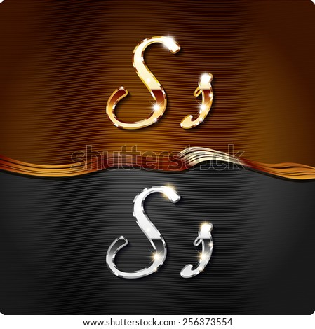 """Golden stylish italic letters and italic metal letters of the alphabet. Capital letter """"S"""" and lowercase """"s"""". Set, vector EPS10. The rest of numbers and letters of the alphabet in my portfolio.  - stock vector"""