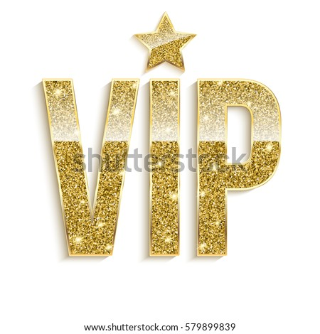 Golden Symbol Exclusivity Label Vip Glitter Stock Vector
