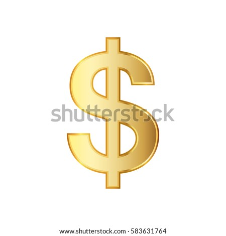Golden symbol of the dollar. Vector illustration. Golden dollar symbol isolated on white background.