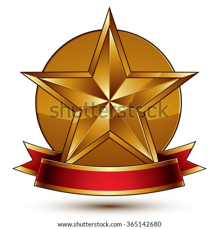 Golden symbol with stylized pentagonal glossy star and red decorative curvy ribbon, best for use in web and graphic design. Vector sophisticated gold ring isolated on white background  - stock vector