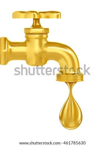 golden tap. a drop of gold flowing from the tap