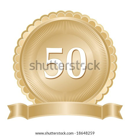 Golden 50th anniversary seal or medallion with ribbon banner and scalloped edge.