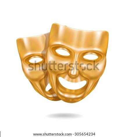 Golden theater masks - stock vector