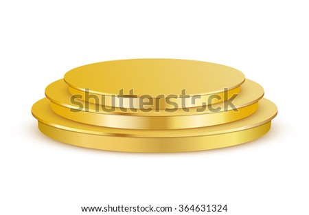 Golden three step copyspace podium isolated on white - stock vector