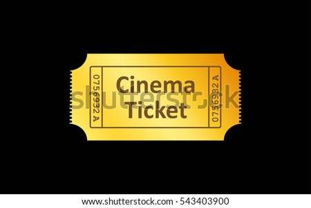 Golden ticket icon on black background. Vector illustration.