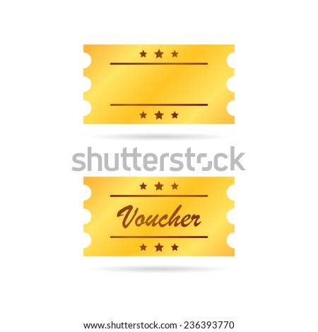 Golden Ticket Voucher - stock vector