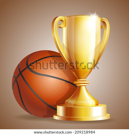 Golden trophy cup with a Basketball ball. Vector illustration - stock vector