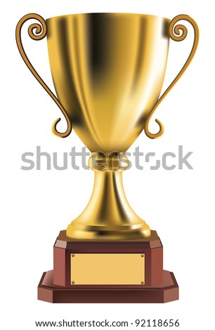 Golden trophy isolated on background