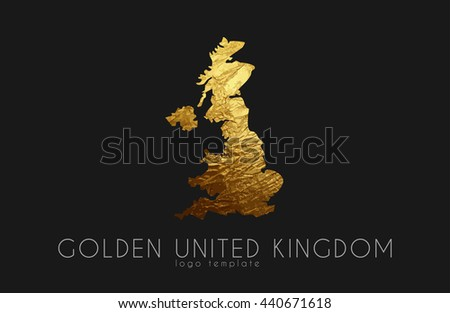 Golden United Kingdom Logo on the black background - stock vector