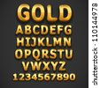 Golden vector font - stock vector