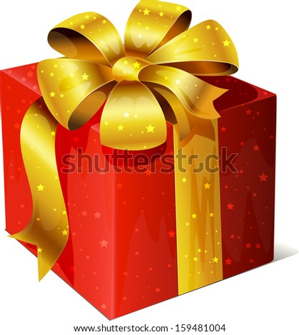 golden vector gift with red ribbon and bow isolated on white background - stock vector