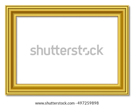golden vector retro vintage gold picture frame isolated on white background