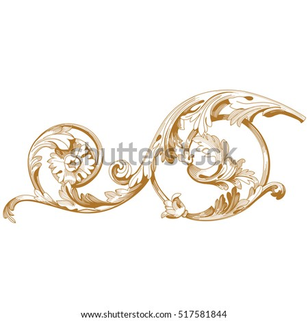 Golden vintage baroque ornament, corner. Retro pattern antique style acanthus. Decorative design element filigree calligraphy. Vector.