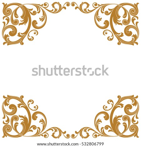 Golden Vintage Border Frame Engraving With Retro Ornament Pattern In Antique Baroque Style Decorative Design