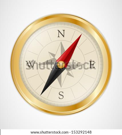 Golden Vintage Compass - stock vector