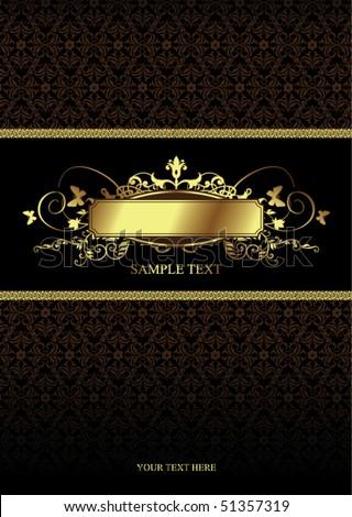 golden vintage cover - stock vector
