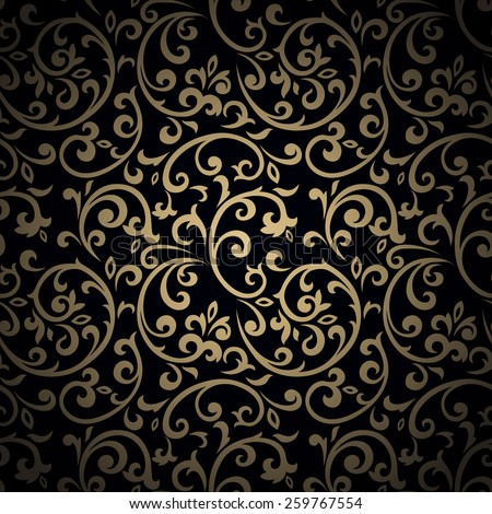 Golden vintage seamless pattern with lot of detailed flourish elements on black background. - stock vector