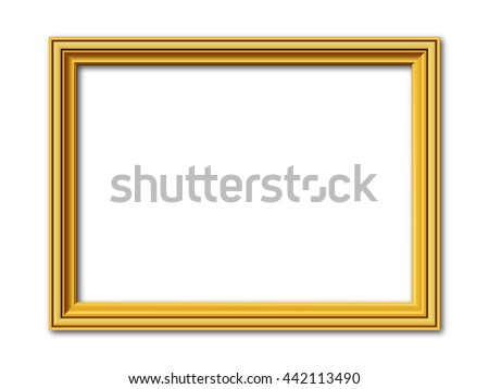 golden vintage style vector frame isolated on white - stock vector