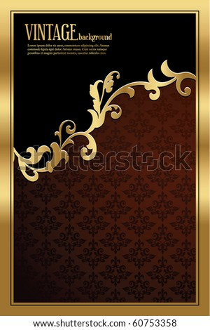 golden vintage template - stock vector