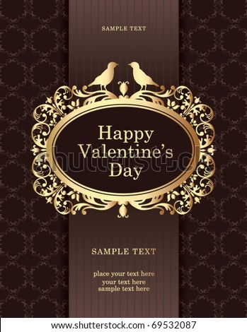 golden vintage valentine's card - stock vector